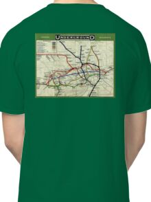 TUBE, UNDERGROUND, MAP, 1908, London, Historic, UK, GB, England, on Green Classic T-Shirt