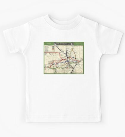 TUBE, UNDERGROUND, MAP, 1908, London, Historic, UK, GB, England, on Green Kids Tee