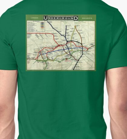 TUBE, UNDERGROUND, MAP, 1908, London, Historic, UK, GB, England, on Green Unisex T-Shirt