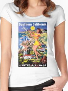 """UNITED AIR WAYS"" Fly to Southern California Print Women's Fitted Scoop T-Shirt"
