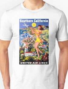 """UNITED AIR WAYS"" Fly to Southern California Print Unisex T-Shirt"