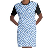 Portuguese azulejo tiles. Blue and white gorgeous seamless patterns.  Graphic T-Shirt Dress