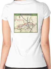 TUBE, UNDERGROUND, MAP, 1908, London, Historic, UK, GB, England, on WHITE Women's Fitted Scoop T-Shirt