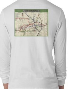 TUBE, UNDERGROUND, MAP, 1908, London, Historic, UK, GB, England, on WHITE Long Sleeve T-Shirt