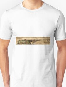 Cadiz Vintage map.Geography Spain ,city view,building,political,Lithography,historical fashion,geo design,Cartography,Country,Science,history,urban Unisex T-Shirt