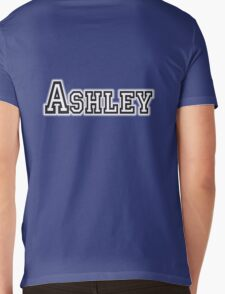 ASHLEY, Name, Tag, Ash, meadow, forest clearing, Given name, on Blue Mens V-Neck T-Shirt