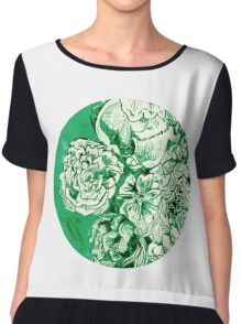 green ink flowers Chiffon Top