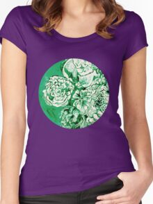 green ink flowers Women's Fitted Scoop T-Shirt