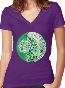 green ink flowers Women's Fitted V-Neck T-Shirt