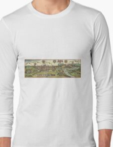 Krakow Vintage map.Geography Poland ,city view,building,political,Lithography,historical fashion,geo design,Cartography,Country,Science,history,urban Long Sleeve T-Shirt