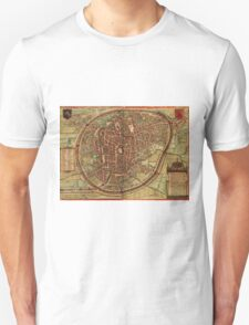 Brussels Vintage map.Geography Belgium ,city view,building,political,Lithography,historical fashion,geo design,Cartography,Country,Science,history,urban Unisex T-Shirt