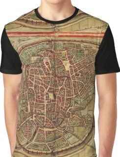 Brussels Vintage map.Geography Belgium ,city view,building,political,Lithography,historical fashion,geo design,Cartography,Country,Science,history,urban Graphic T-Shirt