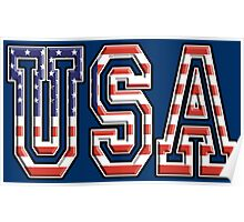 USA, United States of America, Flag, Patriot, America, American, US, on Navy, Blue Poster