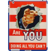 Vintage Uncle Same - Are you doing all you can iPad Case/Skin
