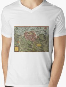 Caiazzo Vintage map.Geography Italy ,city view,building,political,Lithography,historical fashion,geo design,Cartography,Country,Science,history,urban Mens V-Neck T-Shirt