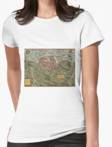 Caiazzo Vintage map.Geography Italy ,city view,building,political,Lithography,historical fashion,geo design,Cartography,Country,Science,history,urban Womens Fitted T-Shirt