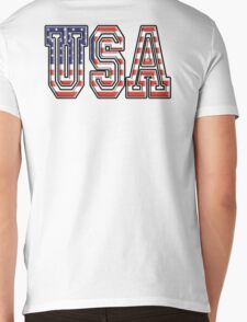 USA, Stars and Stripes, United States of America, Flag, Patriot, America, American, US, on WHITE Mens V-Neck T-Shirt