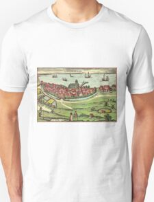 Landskrona Vintage map.Geography Sweden ,city view,building,political,Lithography,historical fashion,geo design,Cartography,Country,Science,history,urban Unisex T-Shirt