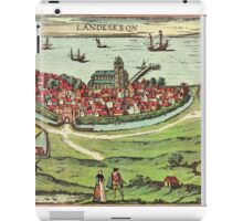 Landskrona Vintage map.Geography Sweden ,city view,building,political,Lithography,historical fashion,geo design,Cartography,Country,Science,history,urban iPad Case/Skin