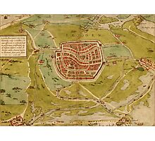 Leiden Vintage map.Geography Netherlands ,city view,building,political,Lithography,historical fashion,geo design,Cartography,Country,Science,history,urban Photographic Print