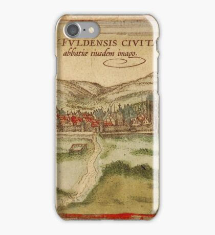 Fulda Vintage map.Geography Germany ,city view,building,political,Lithography,historical fashion,geo design,Cartography,Country,Science,history,urban iPhone Case/Skin