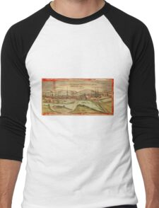 Fulda Vintage map.Geography Germany ,city view,building,political,Lithography,historical fashion,geo design,Cartography,Country,Science,history,urban Men's Baseball ¾ T-Shirt