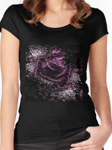 Dark Purple Flower - Abstract Fractal Artwork Women's Fitted Scoop T-Shirt