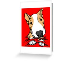 Cute Puppy Bull Terrier Tan and White Greeting Card