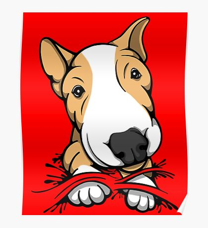 Cute Puppy Bull Terrier Tan and White Poster