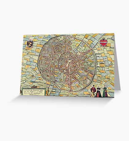 Leuven(2) Vintage map.Geography Belgium ,city view,building,political,Lithography,historical fashion,geo design,Cartography,Country,Science,history,urban Greeting Card
