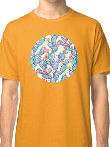 Rainbow Watercolor Cactus Pattern Classic T-Shirt