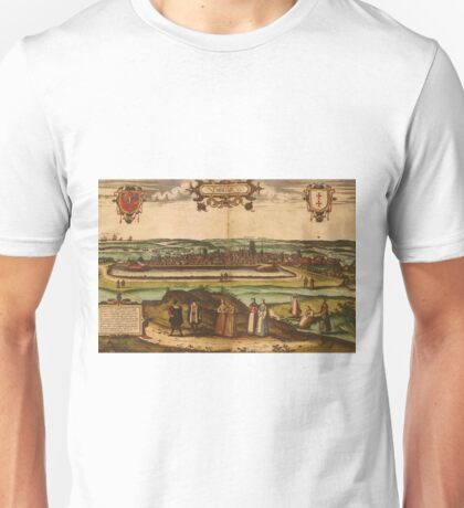 Gdansk Vintage map.Geography Germany ,city view,building,political,Lithography,historical fashion,geo design,Cartography,Country,Science,history,urban Unisex T-Shirt