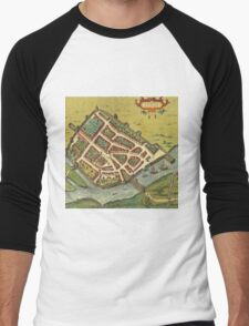 Galway Vintage map.Geography Irland ,city view,building,political,Lithography,historical fashion,geo design,Cartography,Country,Science,history,urban Men's Baseball ¾ T-Shirt
