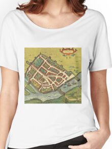 Galway Vintage map.Geography Irland ,city view,building,political,Lithography,historical fashion,geo design,Cartography,Country,Science,history,urban Women's Relaxed Fit T-Shirt