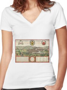 Liege Vintage map.Geography Belgium ,city view,building,political,Lithography,historical fashion,geo design,Cartography,Country,Science,history,urban Women's Fitted V-Neck T-Shirt
