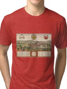 Liege Vintage map.Geography Belgium ,city view,building,political,Lithography,historical fashion,geo design,Cartography,Country,Science,history,urban Tri-blend T-Shirt