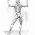 body builder woman drawing by Mike Theuer