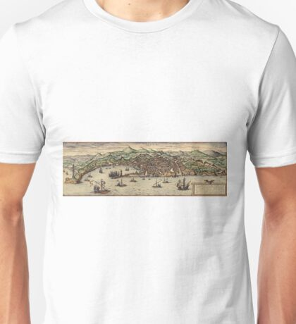 Genova Vintage map.Geography Switzerland ,city view,building,political,Lithography,historical fashion,geo design,Cartography,Country,Science,history,urban Unisex T-Shirt