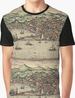 Genova Vintage map.Geography Switzerland ,city view,building,political,Lithography,historical fashion,geo design,Cartography,Country,Science,history,urban Graphic T-Shirt