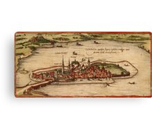 Lindau Vintage map.Geography Germany ,city view,building,political,Lithography,historical fashion,geo design,Cartography,Country,Science,history,urban Canvas Print