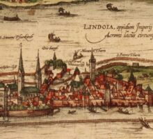 Lindau Vintage map.Geography Germany ,city view,building,political,Lithography,historical fashion,geo design,Cartography,Country,Science,history,urban Sticker