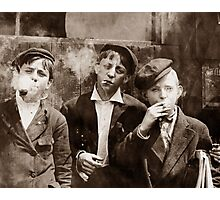 Newsboys Smoking - 1910 Child Labor Photo Photographic Print