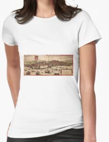 Lisbon Vintage map.Geography Portugal ,city view,building,political,Lithography,historical fashion,geo design,Cartography,Country,Science,history,urban Womens Fitted T-Shirt