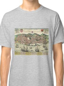 Lisbon2 Vintage map.Geography Portugal ,city view,building,political,Lithography,historical fashion,geo design,Cartography,Country,Science,history,urban Classic T-Shirt
