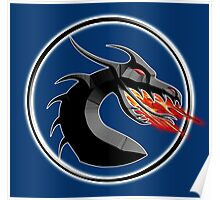 DRAGON, HEAD, Fire, Breathing, CIRCLE, SYMBOL, NAVY, BLUE Poster