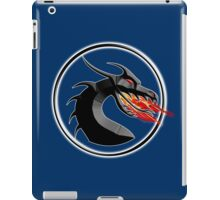 DRAGON, HEAD, Fire, Breathing, CIRCLE, SYMBOL, NAVY, BLUE iPad Case/Skin