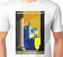 """UNITED AIR LINES"" Fly to Washington D.C. Advertising Print Unisex T-Shirt"
