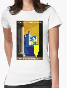 """UNITED AIR LINES"" Fly to Washington D.C. Advertising Print Womens Fitted T-Shirt"