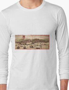 Lisbon Vintage map.Geography Portugal ,city view,building,political,Lithography,historical fashion,geo design,Cartography,Country,Science,history,urban Long Sleeve T-Shirt