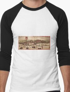 Lisbon Vintage map.Geography Portugal ,city view,building,political,Lithography,historical fashion,geo design,Cartography,Country,Science,history,urban Men's Baseball ¾ T-Shirt